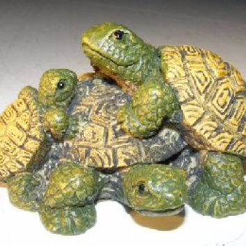 Miniature Turtle FigurineThree Turtles - Two climbing on back