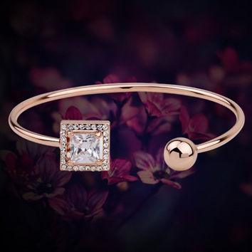 Chic Bangle Style Gold Bracelet with Square Cubic Zirconia