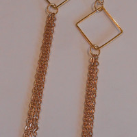 4 inch long chain Gold Chandelier Earrings, E-1226