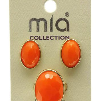Homaica Neon (Orange) Stone Earring And Ring Set