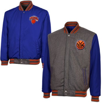 New York Knicks Reversible Wool Jacket with Team Color Sleeves - Gray/Royal Blue