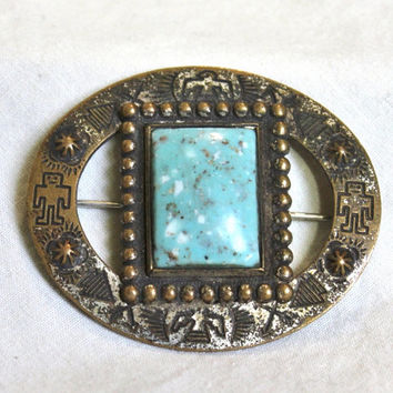 Vintage Brooch Tribal Art Deco Brass 1920s Turquoise Cabochan Bird Silver Plated Oval Pin 20s Engraved Pattern Blue Aqua Women Small