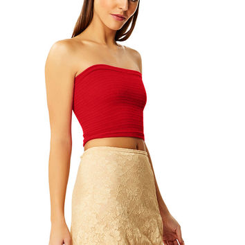 Jungle Red Cotton Tube Top