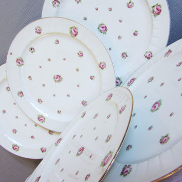 6 X Vintage French Decorative Dinner Plates by LIMOGES ~Fine China Floral Plate ~Pink Rose Plate ~Shabby Chic ~H.G Limoges~French Porcelain~