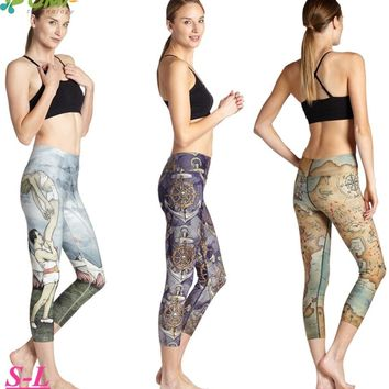 Purple Boat Anchor Women Running Capri Tights The Hobbit Tolkien Map Fitness Gym Crop Leggings Stretchy Slim High Waist