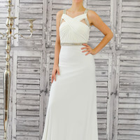 Colors 1168 In Stock White Jersey Jeweled Wrap Top Prom Dress Evening Gown