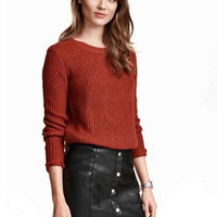 Plain Long Sleeve Knitted Sweater