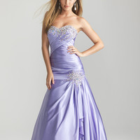 Lilac Beaded Ruched Satin Strapless Drop Waist Prom Gown - Unique Vintage - Cocktail, Pinup, Holiday & Prom Dresses.