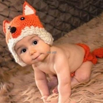 Newborn Infant Photography Props Baby Hat & Pants Costume Hand Crochet Fox Baby