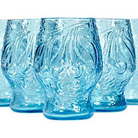 Blue Embossed Fruit Tumblers, S/5