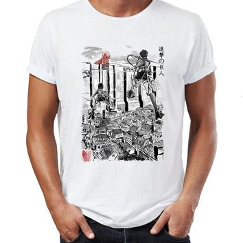 Cool Attack on Titan Men's T Shirt  Giants Inside The Wall Awesome Artwork Drawing Printed Tee AT_90_11