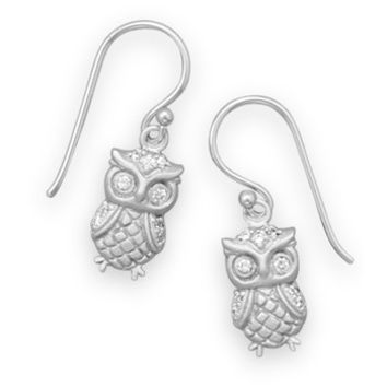 Rhodium Plated Satin Finish Owl Earrings