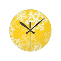 Cute yellow and white Christmas snowflakes Clock