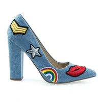 OgdenP Blue Jean Denim By Not Just A Pump, Embroidered Retro Graphic Lips, Rainbow, Star Patch Block Heel