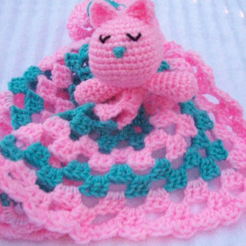 Sleeping Kitten Crochet Baby Blanket, Baby Lovey Blanket, Baby Lovie Blanket, Baby Security Blanket