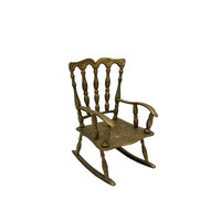 Brass Rocking Chair Small Vintage Doll Display Farmhouse Country Tabletop Decor Mini
