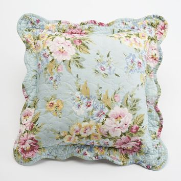 Home Classics Clair Country Floral Throw Pillow (Blue)