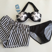 Print Halter Push-Up Strapless Stripe Shorts Bikini Swimsuit Swimwear Set Three-Piece