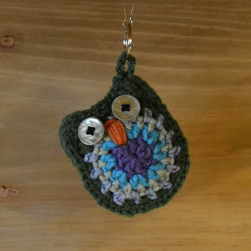 Crochet Owl Keychain Blue Green Purple Stocking Stuffer Handmade Littlestsister
