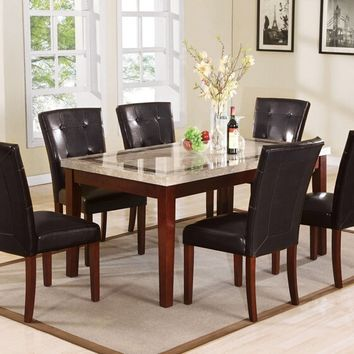 Acme 70772 7 pc earline walnut finish wood and white and brown inlay marble top dining table set