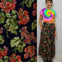 90s Corduroy Skirt Floral Grunge Long Hippie Gypsy High Waist Boho Fall Winter Navy Blue Soft Grunge Women's Vintage Clothing Pleated 1990s