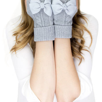 LIGHT GRAY MITTENS, short fingerless knit gloves with bow, grey knit gloves, knit bow gloves, wool
