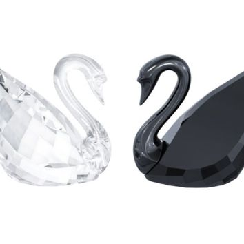 Swarovski Crystal Figurines Pair of SWANS Black & Clear #5268821