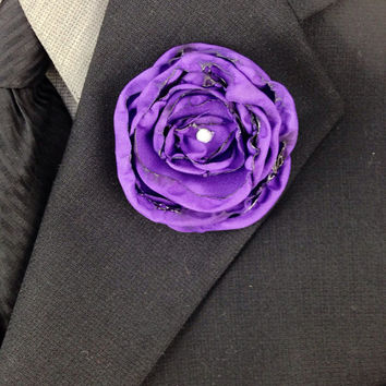 Purple Fabric Flower Wedding Boutonniere with  Swarovski Crystal Rhinestone, Wedding Party, Wedding Boutonnieres, Fabric Boutonnieres