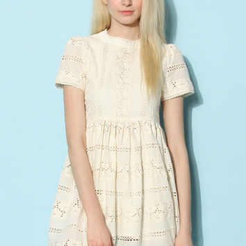 Darling Lace Dolly Dress in Ivory Beige