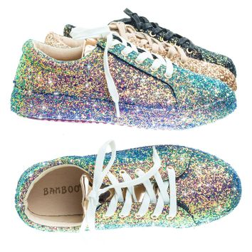 Grandslam07 Blue Green by Bamboo, Glitter Fashion Lace Up Sneaker w Covered Platform & Metallic Upper