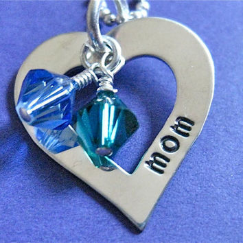 """Small Hand-stamped Heart Washer Birthstone Name Necklace in Sterling Silver 3/4"""" with Swarovski Birthstones  - great for moms or grandmas"""
