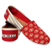 San Francisco 49Ers Official NFL Womens Stripe Canvas Slip-on Shoes