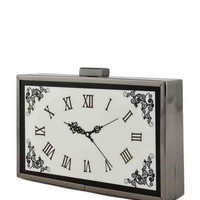 The Whitney Black White Clock Evening Clutch Handbag