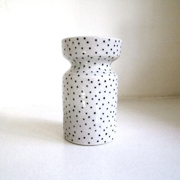 Ceramic Black and White Polka Dot Cinched Vase