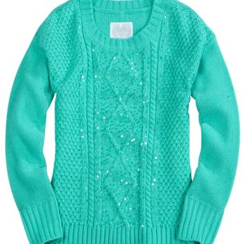 Sequin Cable Knit Sweater | Girls Sweaters Clothes | Shop Justice