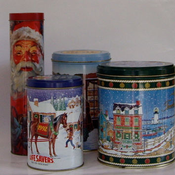 Vintage Advertising Tins Christmas Cookies Candies and Matches1989 cij