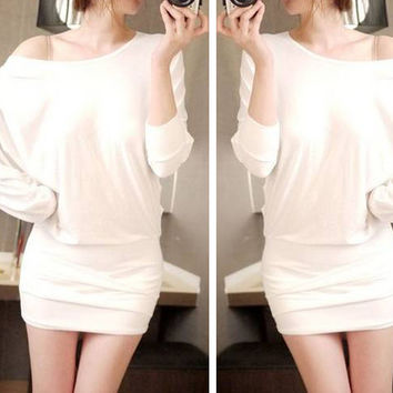 White One-Shoulder Bat-wing Sleeve Mini Dress