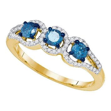 10kt Yellow Gold Women's Round Blue Color Enhanced Diamond 3-stone Bridal Wedding Engagement Ring 5/8 Cttw - FREE Shipping (US/CAN)