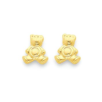 Kids Small Teddy Bear Post Earrings in 14k Yellow Gold
