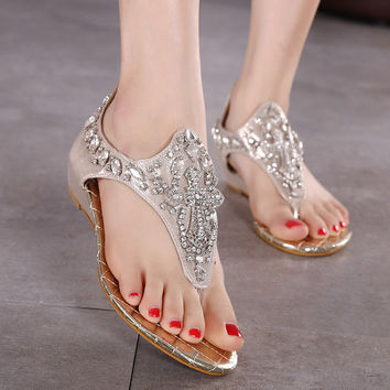 With Heel Rhinestone Hair Clip Wedge Summer Zippers Sandals = 4804992068