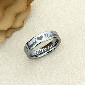 Personalized Outside Inside Custom Engraving Tungsten Carbide Wedding Band Ring 6mm Flat Classic Ring - XDPTR020