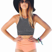 2016 new stripe Vest Tops high waist triangle high neck bikini set women beach bikinis Swimwears Swimsuit bathing suit vintage