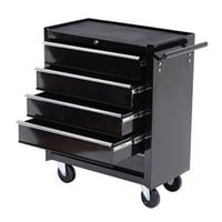 Soozier 5 Drawer Tool Box with Wheels - Black