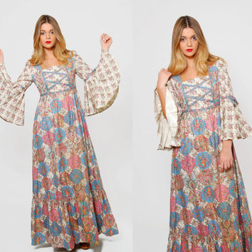 Vintage 70s PATCHWORK Maxi Dress PASTEL Hippie Dress RENAISSANCE Dress Empire Waist Bell Sleeve Boho Wedding Dress