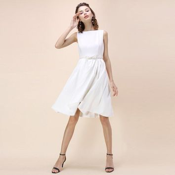 Summer western style fashion slim cute solid color O-neck sleeveless white dress