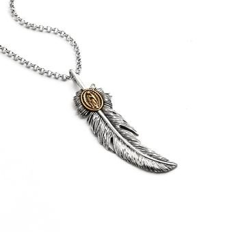 Feather w/ Virgin Mary Pendant Necklace