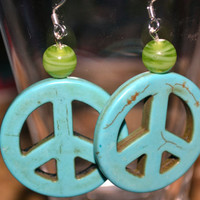 Turquoise  Peace Symbol Earrings With Green Bead