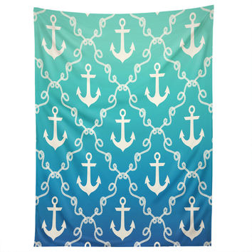 Jacqueline Maldonado Nautical Knots Ombre Blue Tapestry