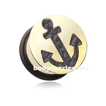 Pair of Golden Leather Filled Anchor Ear Gauge Plug Surgical Steel