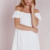Missguided - Chiffon Bardot Cap Sleeve Shift Dress White